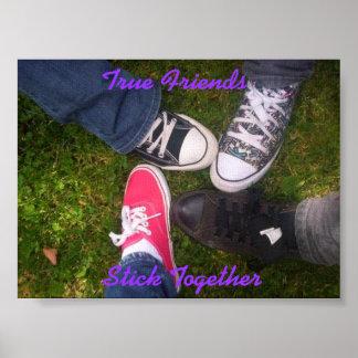Poster de los amigos verdaderos (fuente púrpura)