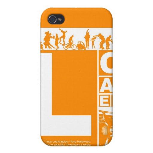 Poster de Los Ángeles en color anaranjado iPhone 4/4S Fundas