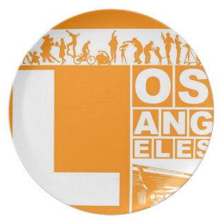 Poster de Los Ángeles en color anaranjado Platos