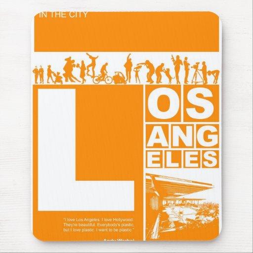 Poster de Los Ángeles en color anaranjado Alfombrilla De Ratones