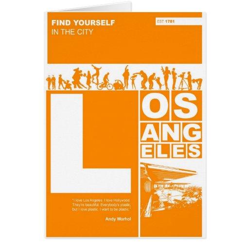 Poster de Los Ángeles en color anaranjado Tarjeta Pequeña