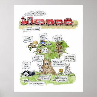 Poster de los animales del dibujo animado del sent