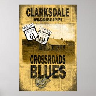 Poster de los azules de Clarksdale Mississippi
