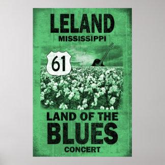 Poster de los azules de Leland Mississippi