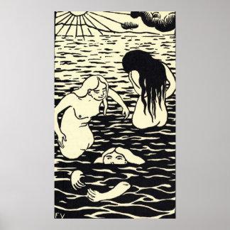 Poster de los baigneuses de los trois de Felix Val