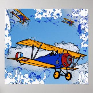 Poster de los biplanos de WWI