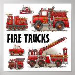 Poster de los bomberos de los coches de bomberos