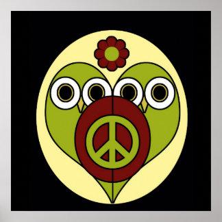 Poster de los búhos de la paz del flower power