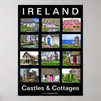 Poster de los castillos y de las cabañas de IRLAND