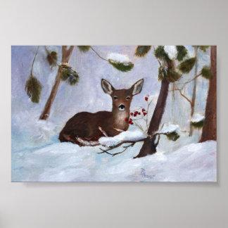 Poster de los ciervos de la baya del acebo