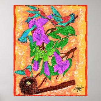 Poster de los colibríes de la acuarela