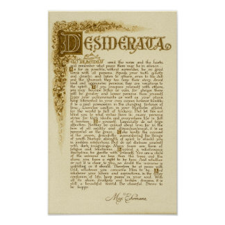 Poster de los DESIDERÁTUMS por Ehrmann=Antique máx