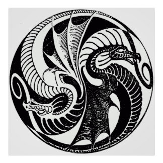 Poster de los dragones de Yin Yang del vintage
