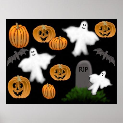 Poster de los fantasmas y de las calabazas de Hall