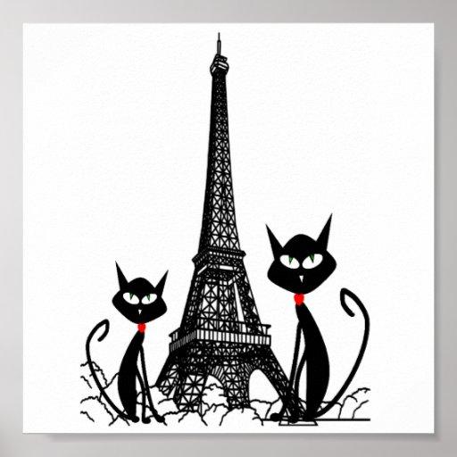 poster de los gatos de la torre Eiffel