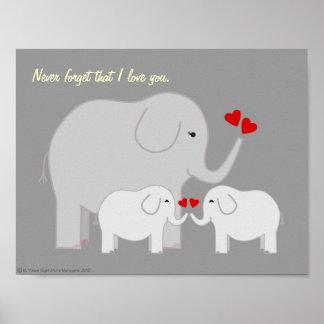 Poster de los grises de los elefantes de la mamá y