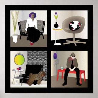 Poster de los interiores de Ikea - frontera negra
