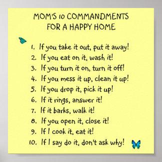Poster de los mandamientos de la mamá 10