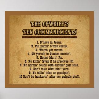 Poster de los mandamientos de la vaquera 10 póster