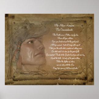 Poster de los mandamientos del nativo americano di