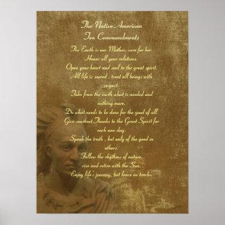 Poster de los mandamientos del nativo americano di póster