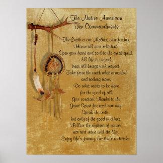 Poster de los mandamientos del nativo americano póster