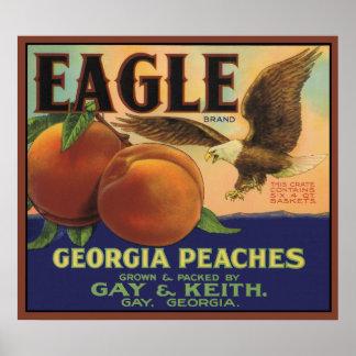 Poster de los melocotones de Eagle Georgia