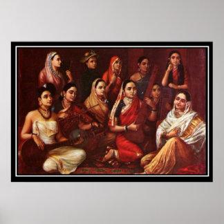 Poster de los músicos del siglo de la India Nineti