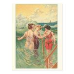 Poster de los nadadores del vintage postal
