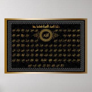 poster de los nombres de los allahs A PARTIR del