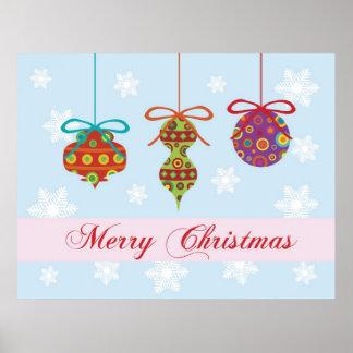 Poster de los ornamentos de las Felices Navidad