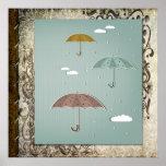 Poster de los paraguas del otoño