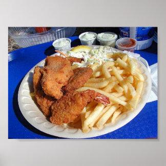 Poster de los pescado frito con patatas fritas