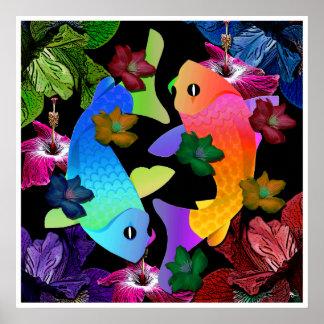 Poster de los pescados de Koi