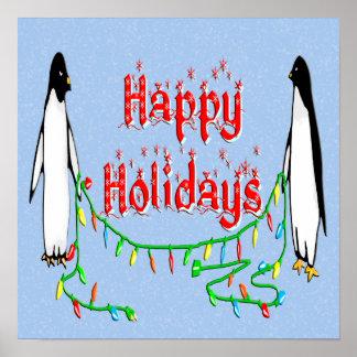 Poster de los pingüinos del día de fiesta