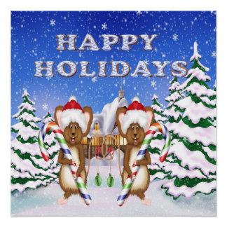 Poster de los ratones del día de fiesta feliz