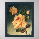 Poster de los rosas amarillos del vintage