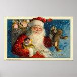 Poster de los saludos del navidad del vintage
