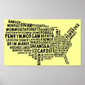 Poster de los topónimos Galés del americano