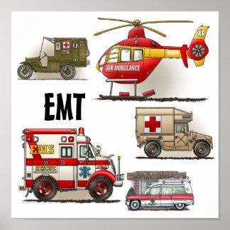Poster de los vehículos de la ambulancia EMT