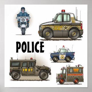 Poster de los vehículos de la aplicación de ley de