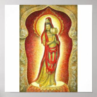 Poster de Lotus de Kuan Yin de la diosa