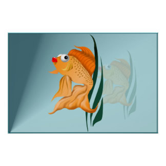 Poster de lujo de los pescados del oro