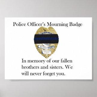 Poster de luto de la insignia del oficial de polic