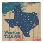 Poster de madera apenado - Houston Tejas
