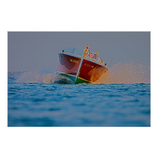 Poster de madera de la maniobra del barco
