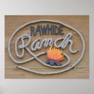 Poster de madera de la muestra del rancho póster