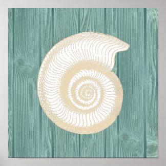 Poster de madera de la playa de la aguamarina del