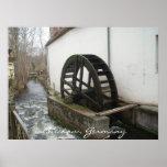 Poster de madera de la rueda de Watermill