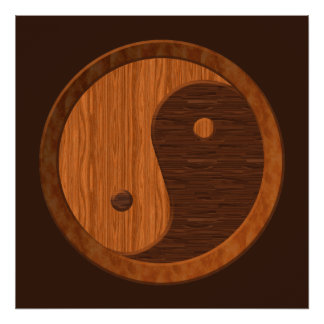 Poster de madera de Yin Yang